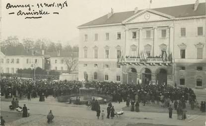 "CARTE PHOTO FRANCE 74 ""Annecy, 1918, armistice"""