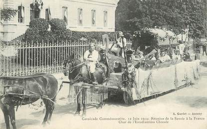 """CPA FRANCE 74 """"Annecy, 1910, commémoration, Char"""""""