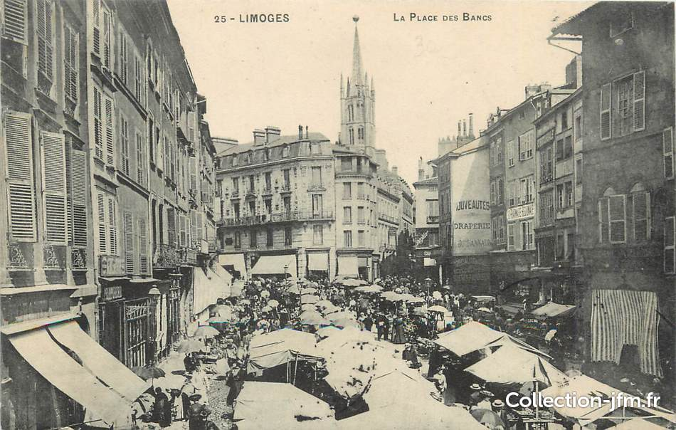 Cpa france 87 limoges la place des bancs 87 haute for 87 haute vienne france