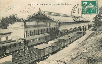 """CPA FRANCE 74 """"Evian les Bains, la nouvelle gare"""" / TRAIN"""