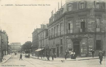 """/ CPA FRANCE 87 """"Limoges, bld Carnot et ancien hôtel des postes"""""""