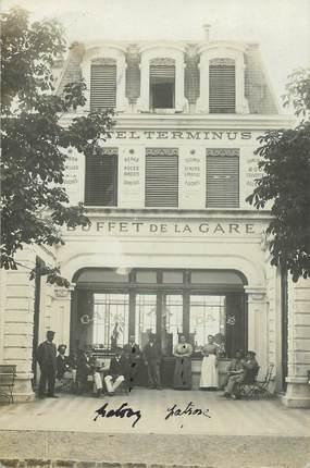 """CARTE PHOTO FRANCE 74 """"Evian les Bains, Buffet de la gare, Hotel Terminus"""""""