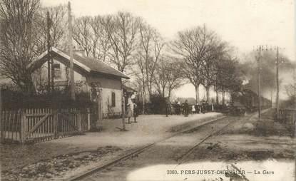 """CPA FRANCE 74 """"Pers Jussy Chevrier, la gare"""" / TRAIN"""
