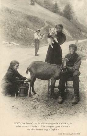 """CPA FRANCE 74 """"Sixt, la chèvre savoyarde et le chien russe"""""""