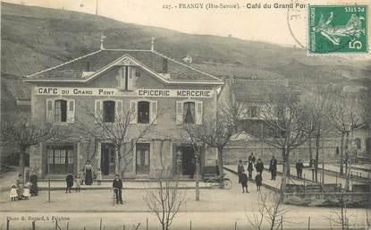 """CPA FRANCE 74 """"Frangy, Café du grand pont, Epicerie Mercerie"""""""