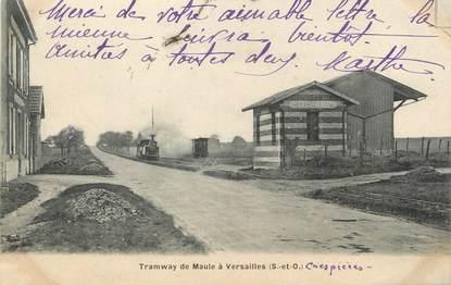 """/ CPA FRANCE 78 """" Crespières, tramway de Maule à Versailles"""""""