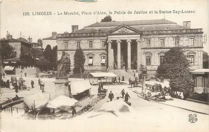 """CPA FRANCE 87 """"Limoges, le marché, place d'Aine, le palais de Justice et la statue Gay Lussac"""""""