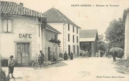 """CPA FRANCE 38 """"Saint Ondras, Hameau de Vercourt, le café"""""""