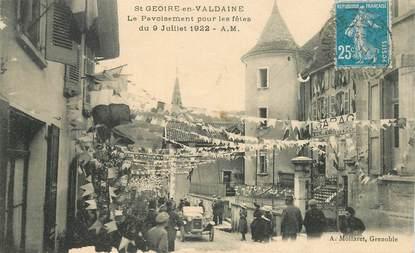 """CPA FRANCE 38 """"Saint Geoire en Valdaine, le pavoisement pour les fêtes du 9 juillet  1922"""""""