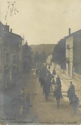 """CARTE PHOTO FRANCE 38 """"Saint Jean de Bournay, route Neuve, arrivée des hussards"""""""