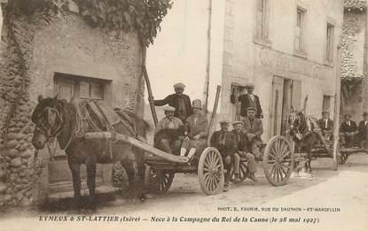 """CPA FRANCE 38 """"Eymeux & Saint Lattier, noca à la campagne du Roi de la Canne, 1927"""""""