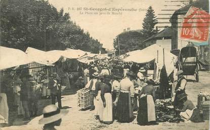 """CPA FRANCE 38 """"Saint Georges d'Espéranche, la place, un jour de marché"""""""