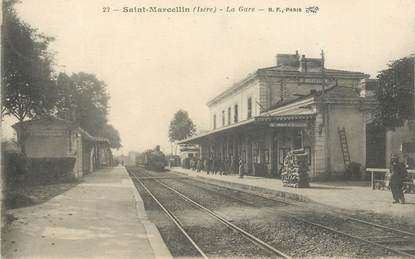 "CPA FRANCE 38 ""Saint Marcellin, la gare"" / TRAIN"