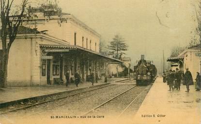 """CPA FRANCE 38 """"Saint Marcellin, la gare"""" / TRAIN"""