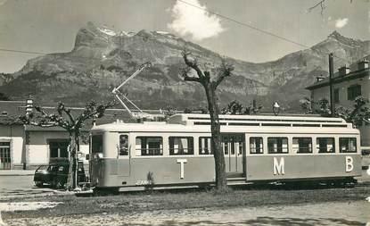 """CPSM FRANCE 74 """"Les aiguilles de Warens, Tramway du Mont Blanc"""""""