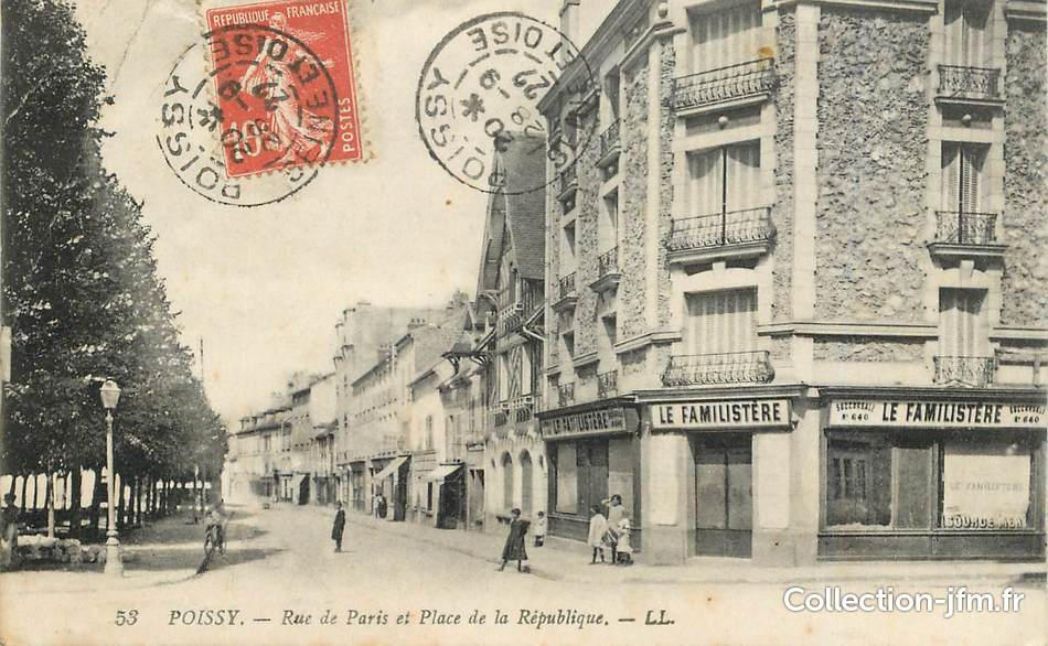 Cpa france 78 poissy la rue de paris et place de la for 78 en france