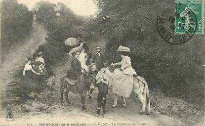 """CPA FRANCE   78   """"Saint Germain en Laye, la Promenade à ânes dans la forêt"""""""