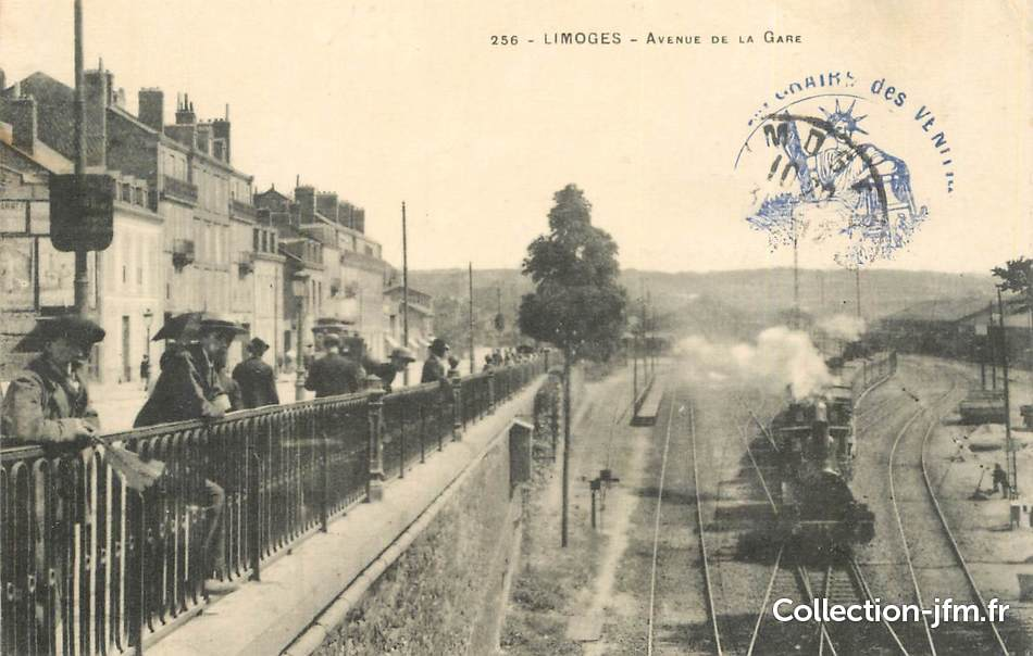 Cpa france 87 limoges avenue de la gare train 87 for 87 haute vienne france