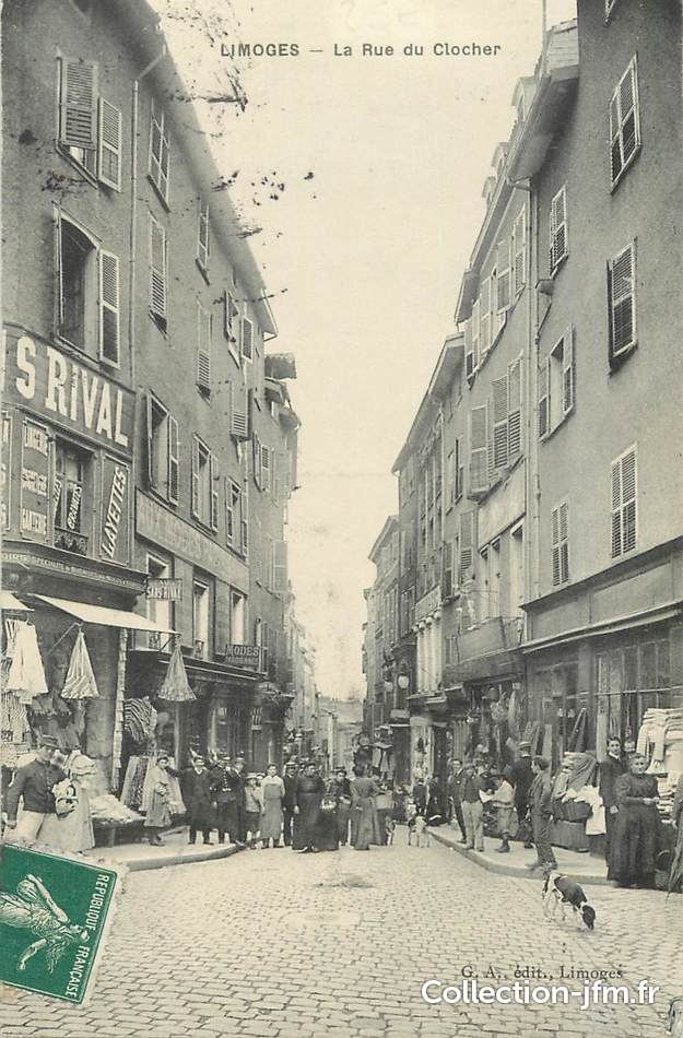 Cpa france 87 limoges la rue du clocher 87 haute for 87 haute vienne france