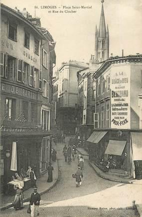 """CPA FRANCE 87 """"Limoges , la place Saint Martial et rue du clocher"""""""