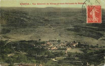 """CPA ALGERIE  """"Boghar, vue générale du village et route nationale de Boghari"""""""