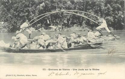 """CPA FRANCE 38 """"Vienne, une joute sur le Rhône"""""""