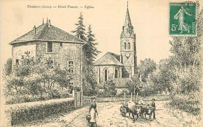 """CPA FRANCE 38 """"Thodure, Hotel Poncet, Eglise"""""""