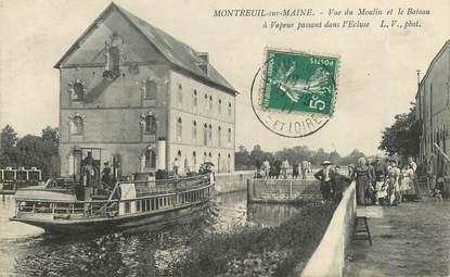"""CPA FRANCE 49 """"Montreuil sur Maine, vue du moulin et le bateau à vapeur"""""""