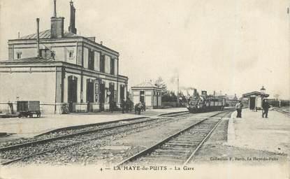 """CPA FRANCE 50 """"La Haye du Puits, la gare"""" / TRAIN"""