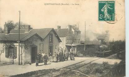 """CPA FRANCE 50 """"Quettreville, la gare"""" / TRAIN"""