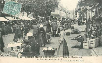 """CPA FRANCE 50 """"sainte Mère Eglise, rue de Carentan"""""""