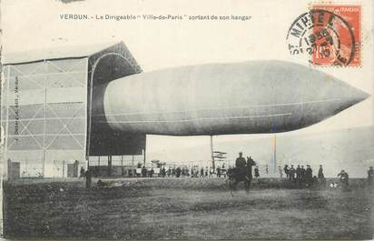 """CPA FRANCE 55 """"Verdun, le Dirigeable Ville de Paris sortant de son Hangar"""""""