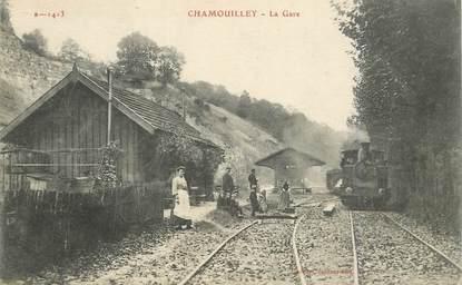 """CPA FRANCE 52 """"Chamouilley, la gare"""" / TRAIN"""