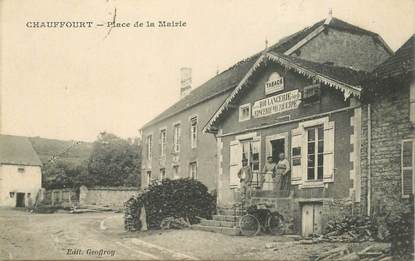 """CPA FRANCE 52 """"Chauffourt, Place de la mairie"""" / BOULANGERIE EPICERIE MERCERIE"""