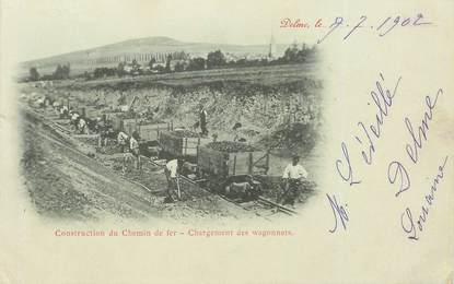 "CPA FRANCE 57 ""Delme, la construction du chemin de fer"""
