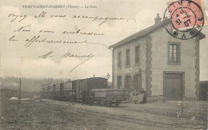 "CPA FRANCE 51 ""Merfy Saint Thierry, la gare"" / TRAIN"