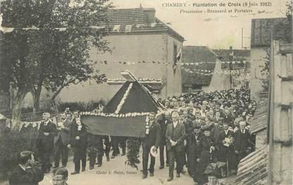 """CPA FRANCE 51 """"Chamery, Plantation de Croix 1913, Procession"""""""