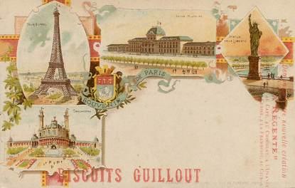 """CPA FRANCE 75 """"Paris, Souvenir"""" / PUB Biscuits Guillout"""