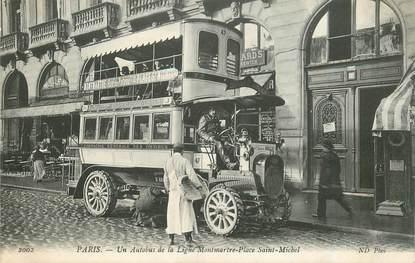 """CPA FRANCE 75 """"Paris, un autobus de la ligne Montmartre, Place Saint Michel"""""""