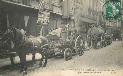 """CPA FRANCE 75 """"Paris, une rue à 4heures du matin """"la pompe à merde"""""""