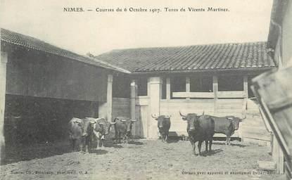 """CPA FRANCE 30 """"Nimes, Courses du 6 octobre 1907, Toros de Vicente Martinez"""" / TAUREAU"""