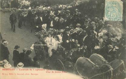 """CPA FRANCE 30 """"Bessèges, cavalcade du 3 septembre 1905, char de jeunes filles"""""""