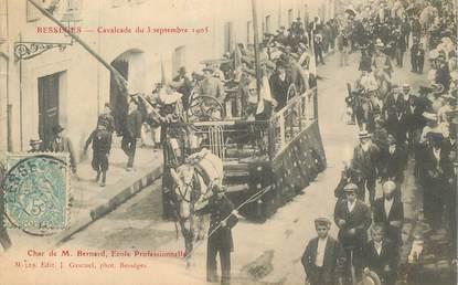 """CPA FRANCE 30 """"Bessèges, cavalcade du 3 septembre 1905, char de M. Bernard, Ecole Professionnelle"""""""