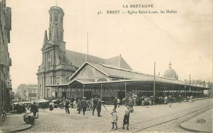 """CPA FRANCE 29 """"Brest, Eglise Saint Louis, les Halles"""""""