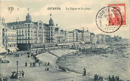 """CPA BELGIQUE """"Ostende, la digue et la plage"""""""