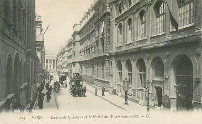 """CPA FRANCE 75002 """"Paris, la rue de la Banque et la mairie"""""""