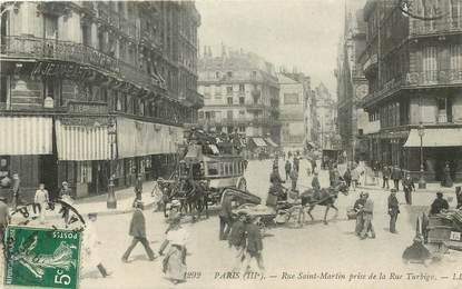 "CPA FRANCE 75003 ""Paris, rue Saint Martin prise de la Rue Turbigo"""