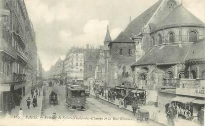 """CPA FRANCE 75003 """"Paris, Prieuré de Saint Nicolas des Champs et rue Réaumur"""" / TRAMWAY"""