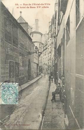 """CPA FRANCE 75004 """"Paris, rue de l'Hotel de ville et Hotel de Sens"""""""