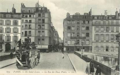 """CPA FRANCE 75004 """"Paris, la rue des deux ponts"""""""